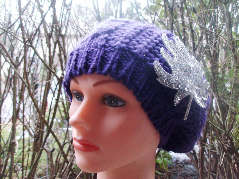Chic beret purple beanie
