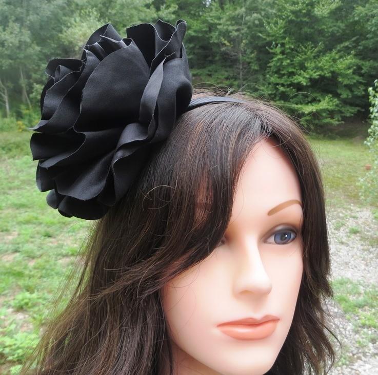Black extra large flower headband