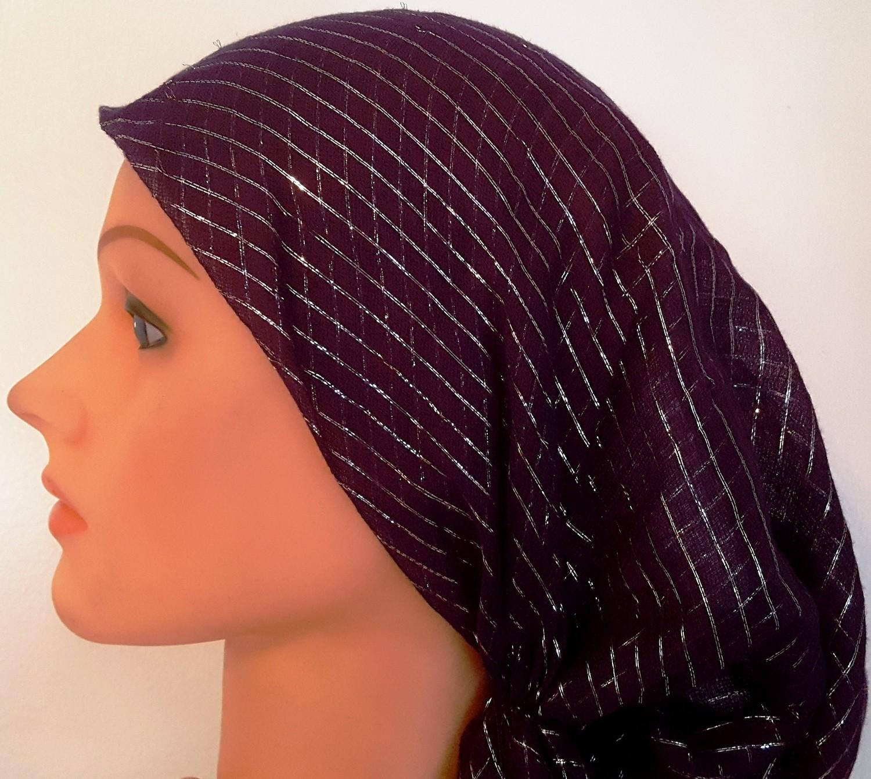 Purple lurex pre tied tichel