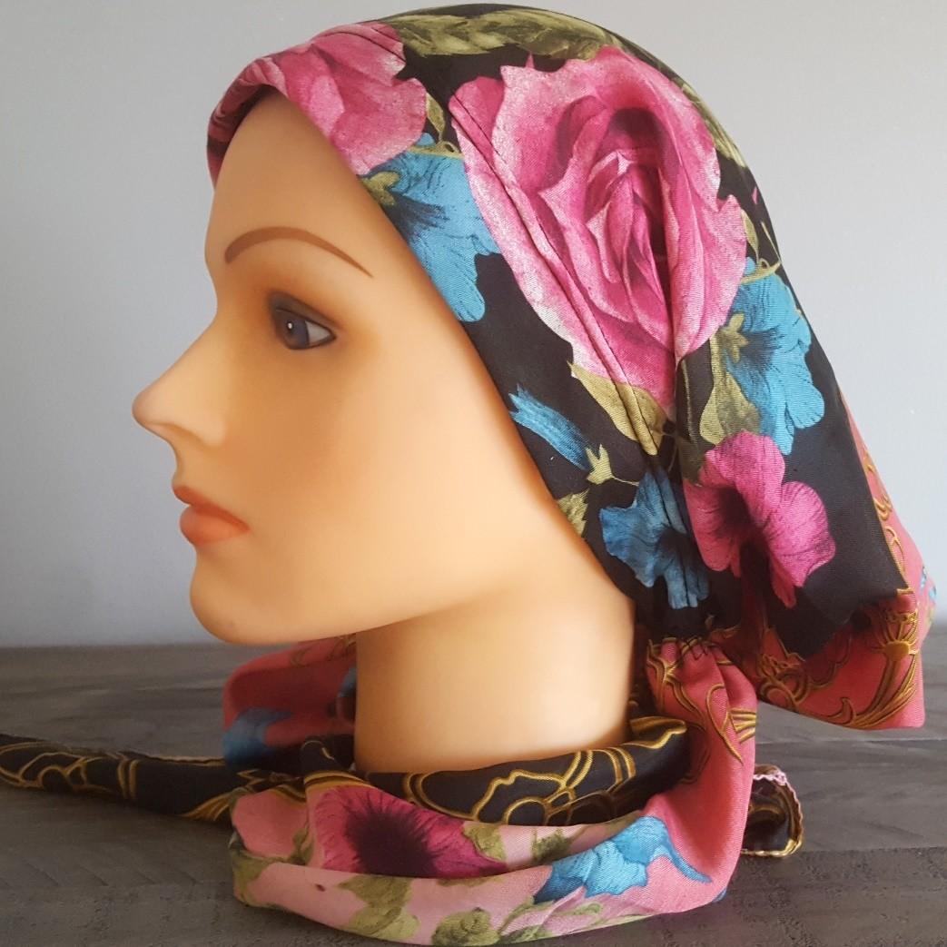 Beautiful pretied Turkish Tichel w/band sewn in