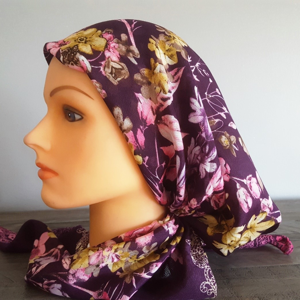 Purple pretied Turkish Tichel w/band sewn in