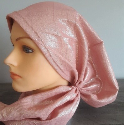 Light rose/taupe shimmering pre tied tichel