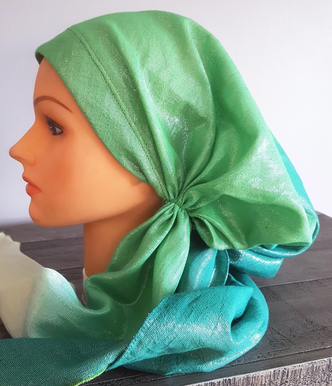 Green ombre' shimmer pretied tichel