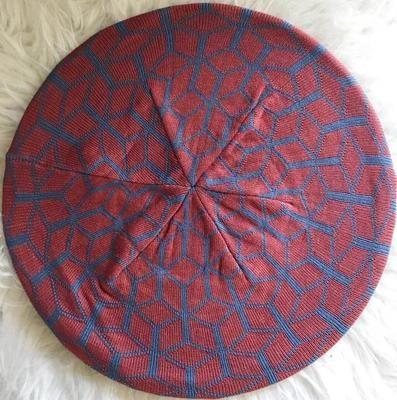 Mauve/jeans mosaic pattern beret/snood
