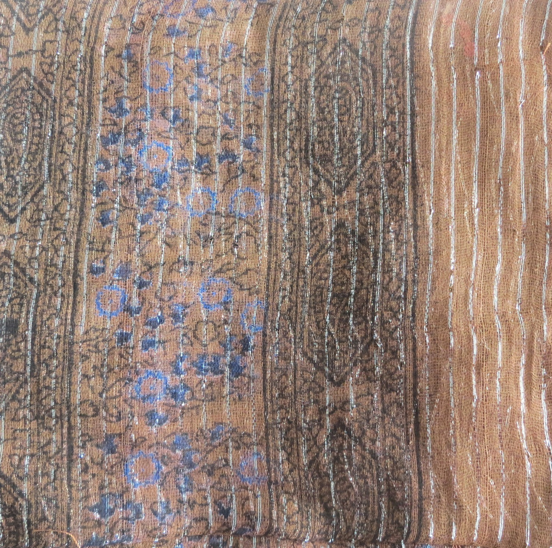 Light brown lurex tichel with blueberry flowers