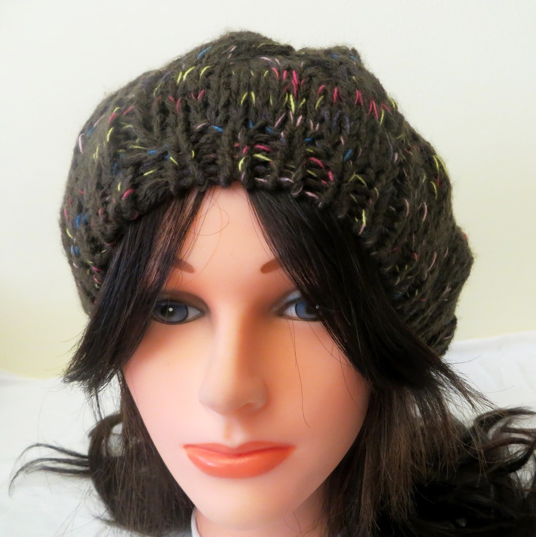 Brown beanie with colorful threads