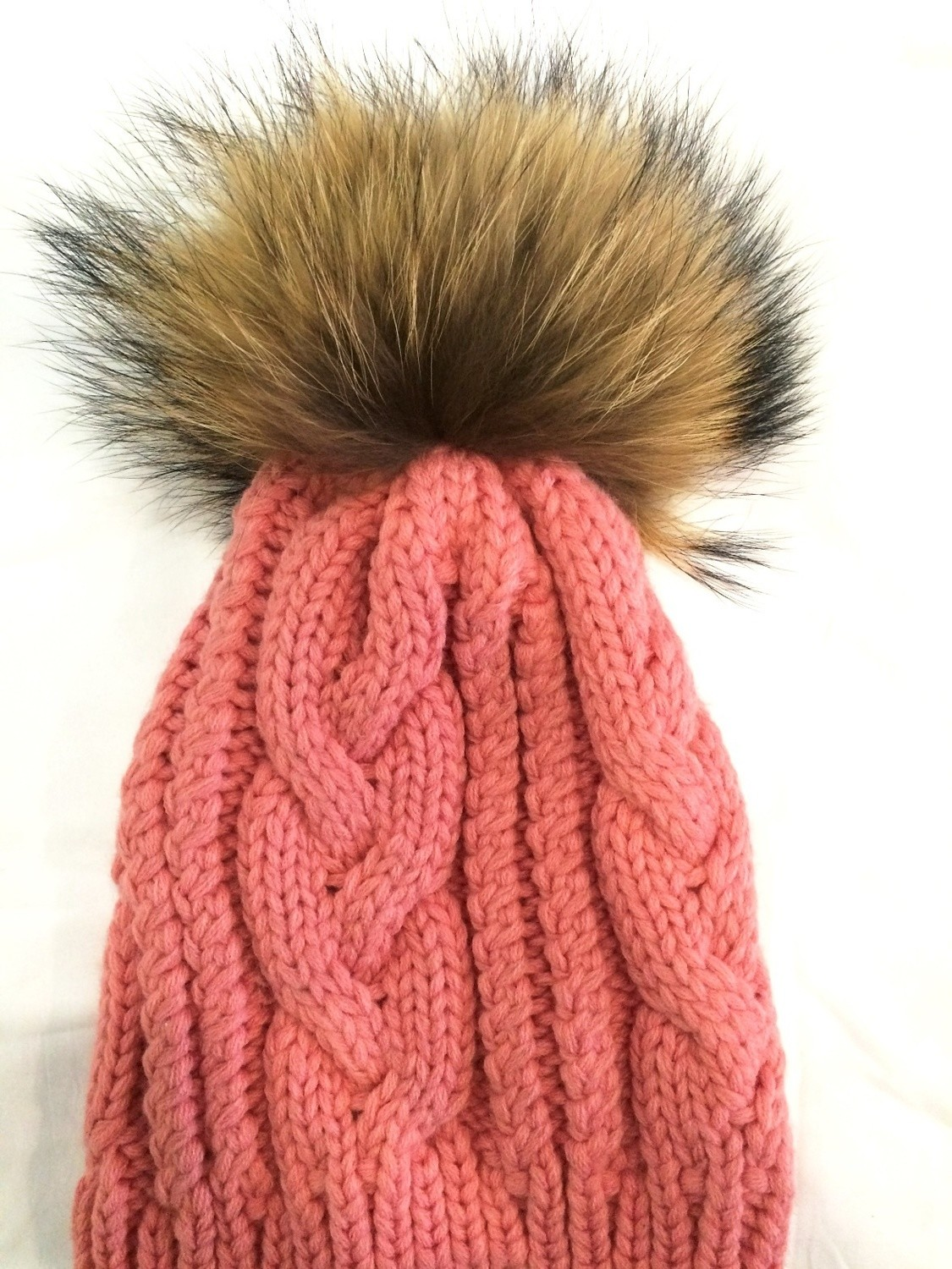 Dusty pink cable knit fur pom pom hat