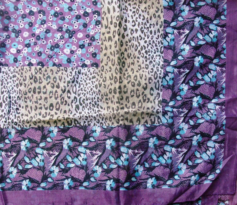 Purple border silk style head scarf tichel