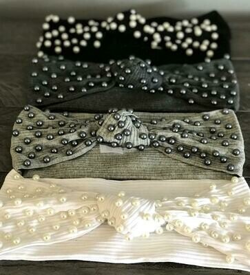 Ribbed knot headbands w/pretty pearls