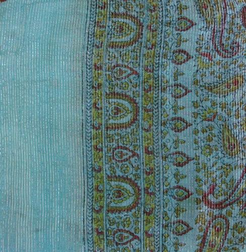 Turquoise thin line fancy cotton tichel
