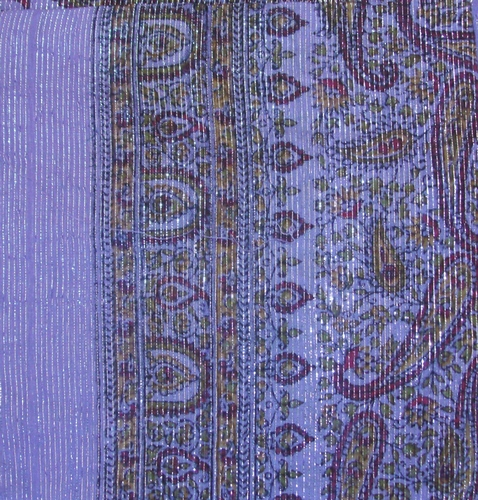 Purple thin line fancy cotton tichel