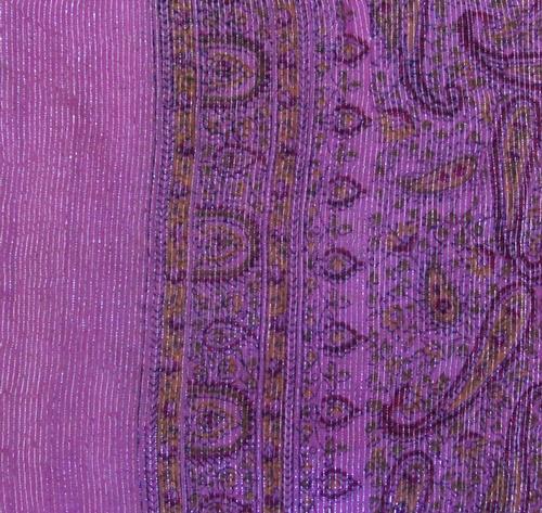 Darker Pink thin line fancy cotton tichel