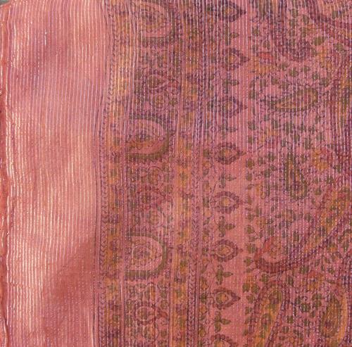 Darker orange thin line fancy cotton tichel