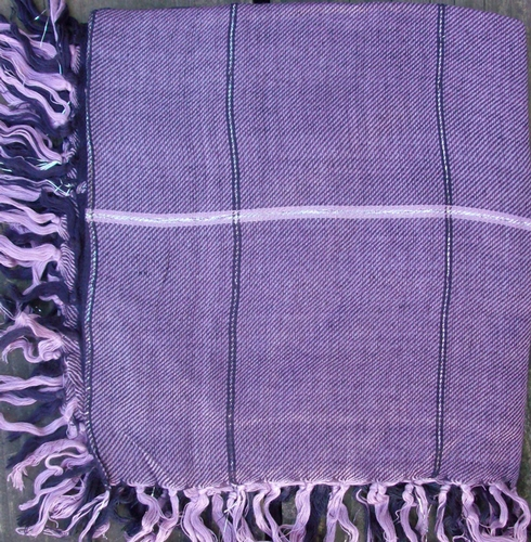 Purple big squares plaid tichel