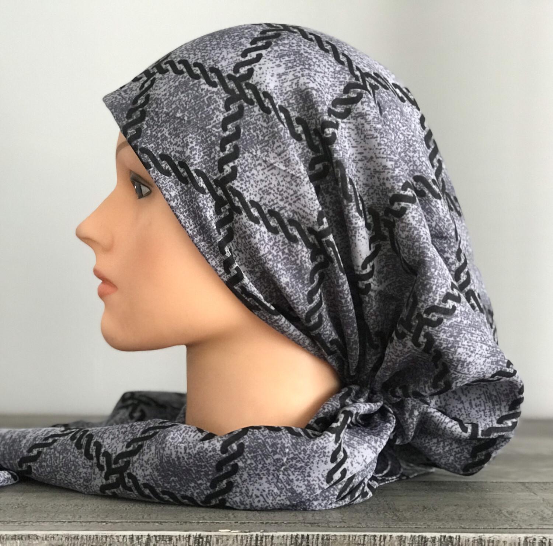 Gray/black pretied Turkish Tichel