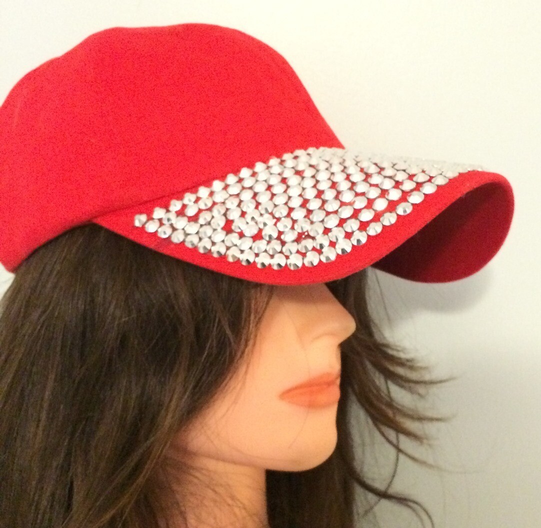 Red with sequins bejeweled cap