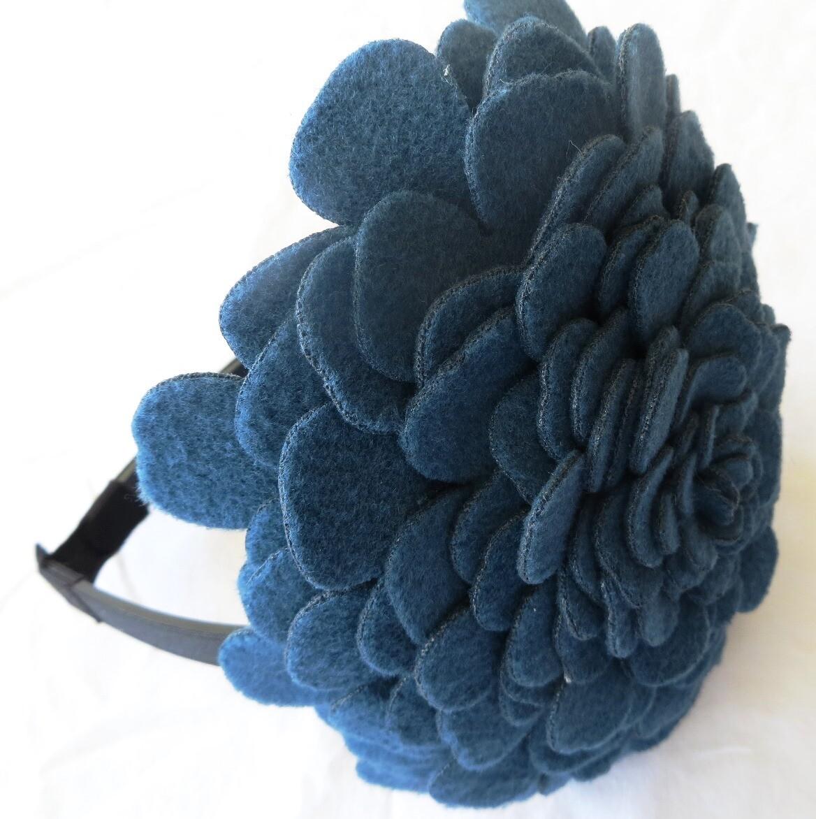 Teal large felt flower headband