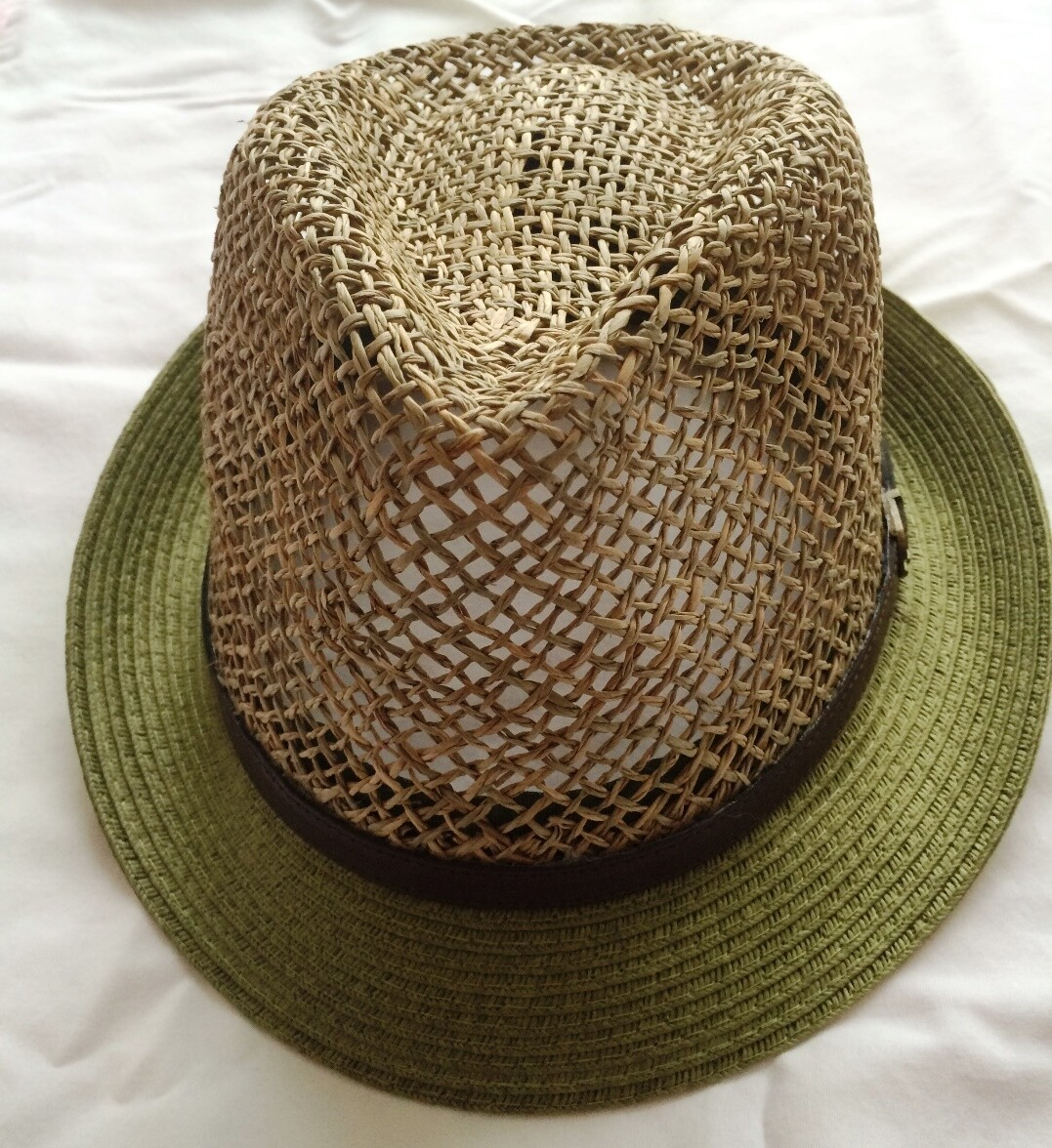 Olive green summer fedora