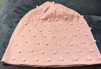 Ribbed beanie with pearls - blush