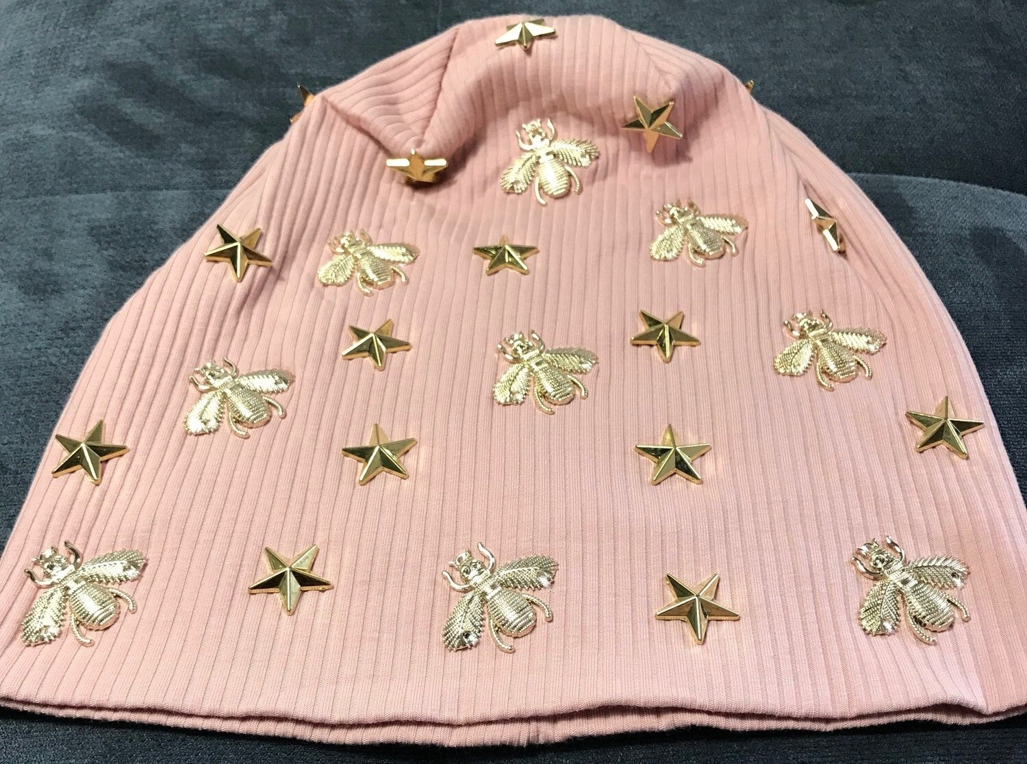 Ribbed beanie with ex. fancy gold