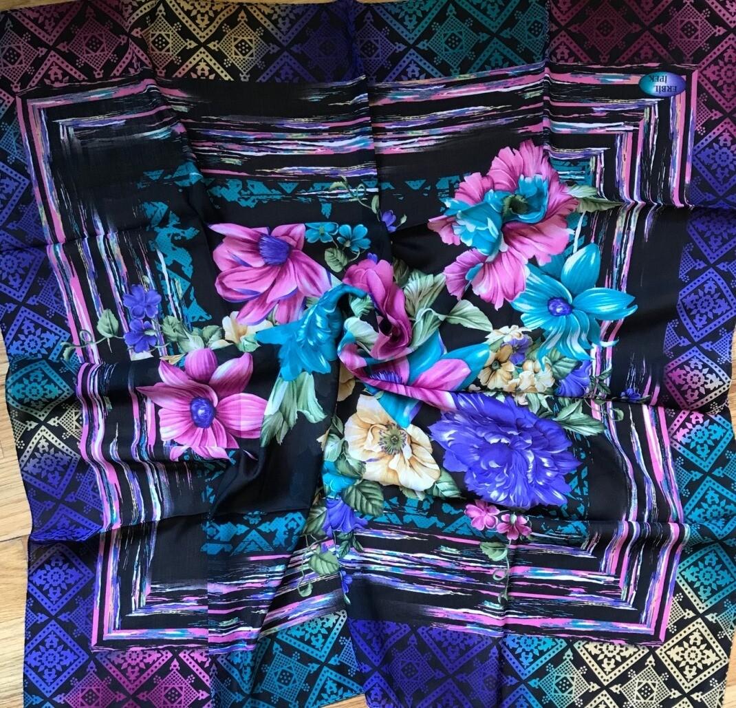 Black n bright flowers Turkish head scarve