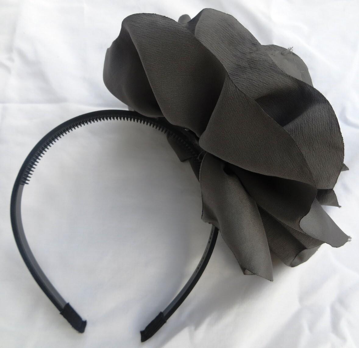 Dark gray extra large flower headband