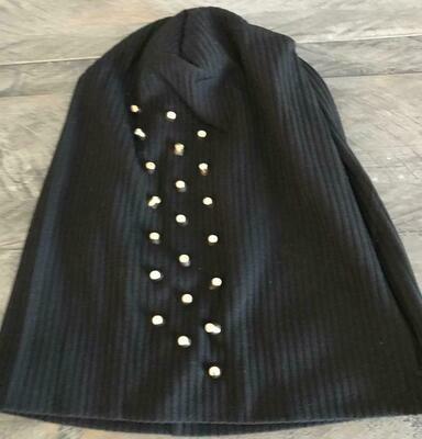 Ribbed cotton beanie w'gold metal studs - Black