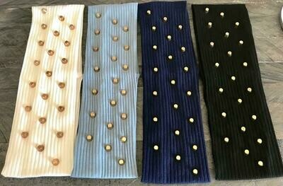 Narrower ribbed cotton headbands w/gold metal studs