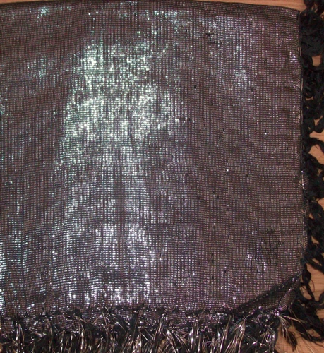 Black solid shimmering tichel