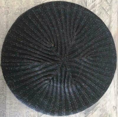 Black w/colorful sparkle lightweight lined beret/snood
