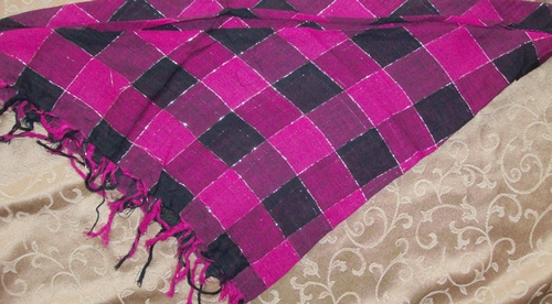 Pink and black squares triangular tichel bandana