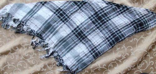 White and black squares triangular tichel bandana