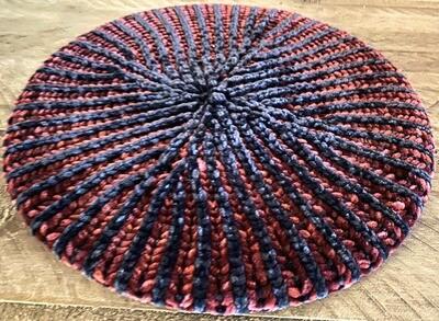 Two color ribbed velvet beret/snood (navy/burgundy)