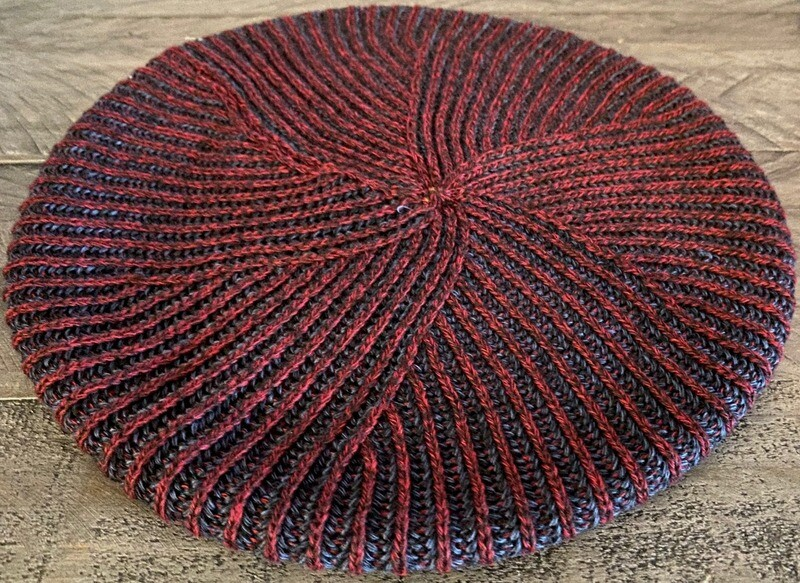 Burgundy/navy - lined thin ribbed beret/snood