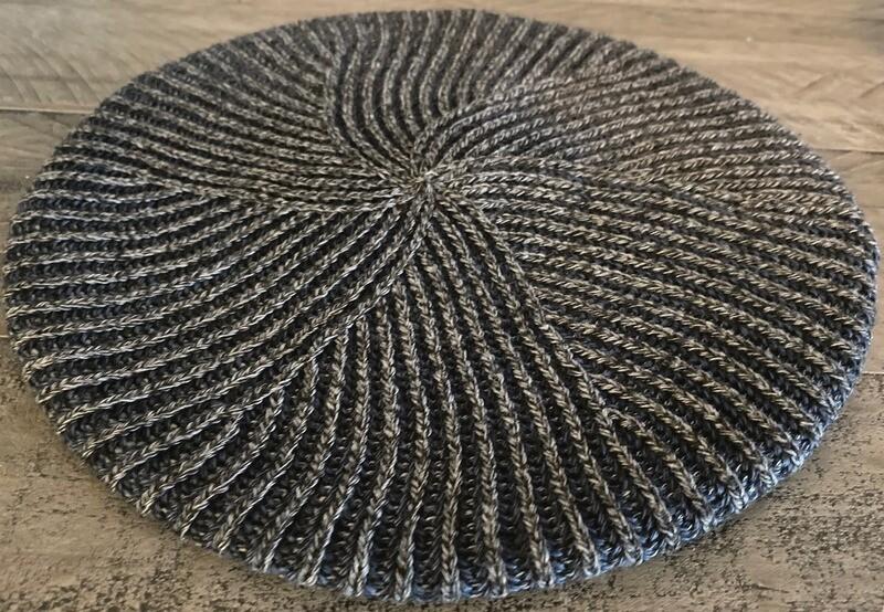 Tan/navy - lined thin ribbed beret/snood