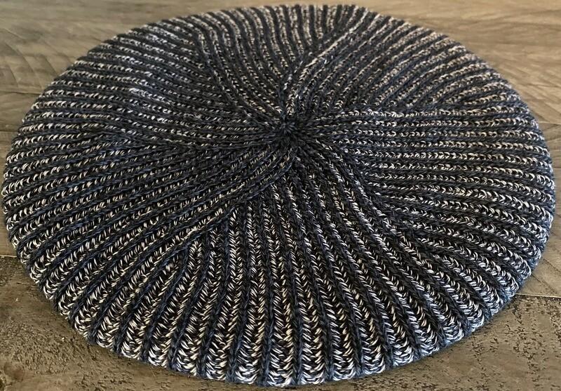 Black/navy - lined thin ribbed beret/snood