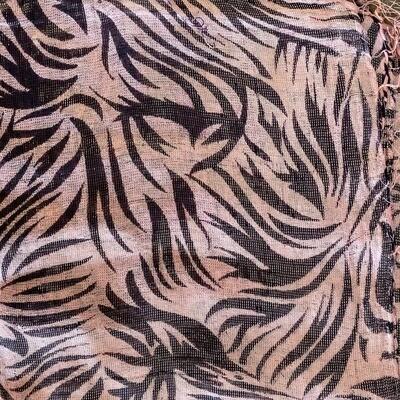 Light pink background tiger print animal print tichel