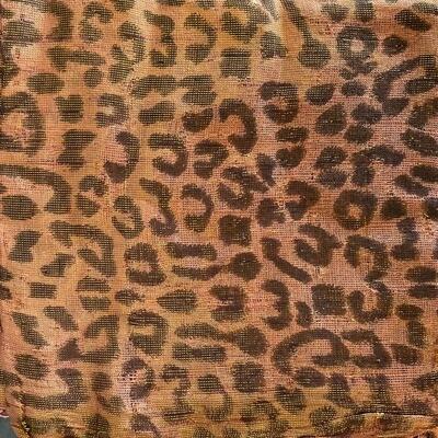 Deep peachy/orangy Animal print  tichel