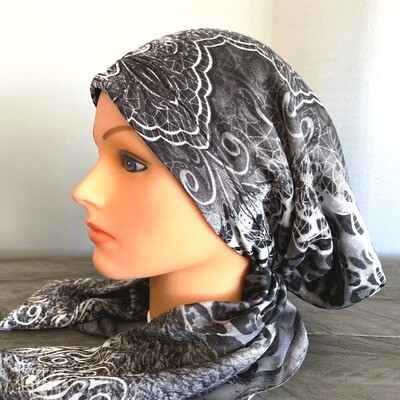 Gray pretied Turkish Tichel w/band sewn in