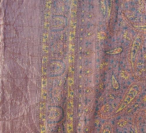 Light brown thin line fancy cotton tichel