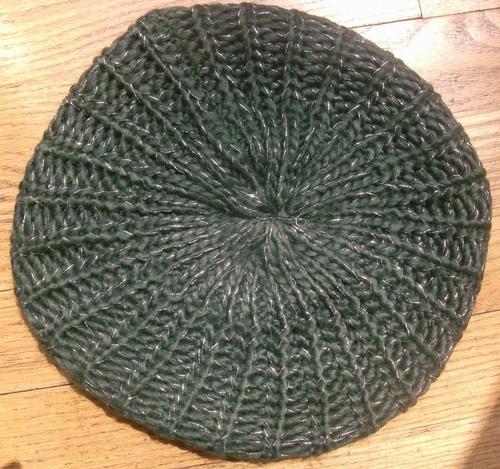 Silver thread beret army green