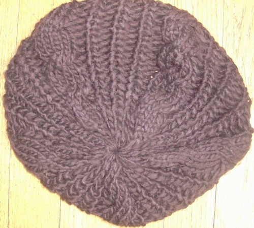 Chocolate brown chunky beanie beret
