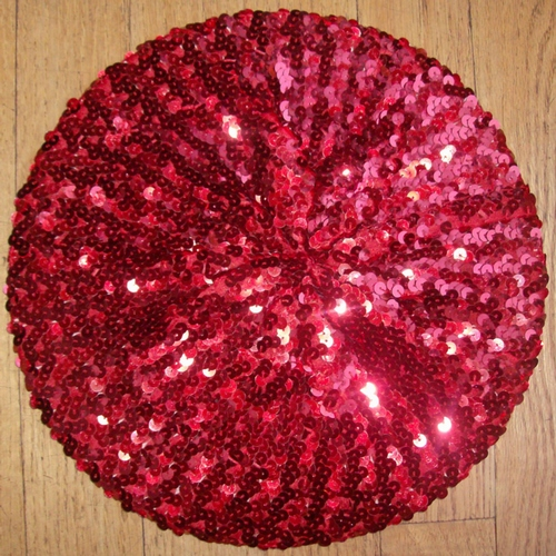 Sequined beret red