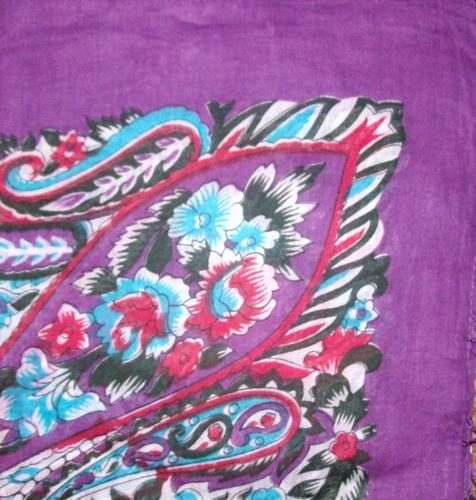 Big bold and bright tichel purple with white