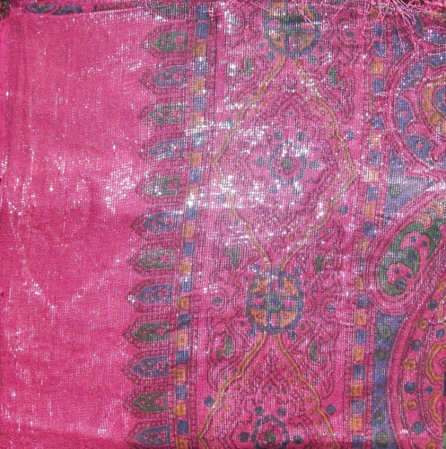 New deep pink shimmering tichel