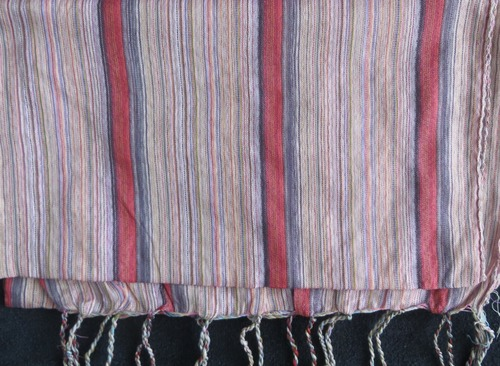 Red and pink stripes pattern rectangle tichel