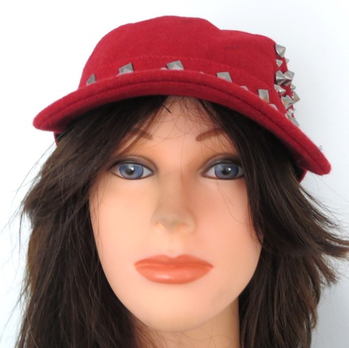 Red spiked cap