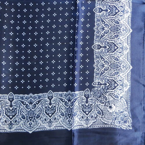 Navy blue silky tichel with pattern