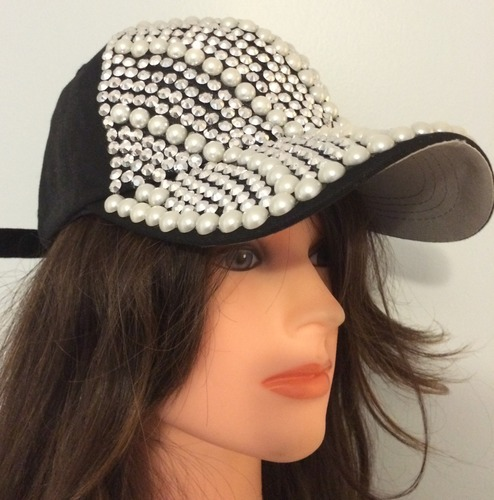 Navy blue with sequins bejeweled cap