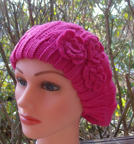 Triple side flower beret pink
